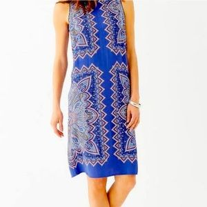 J.Jill Purple Blue Paisley Sleeveless Pocket Dress